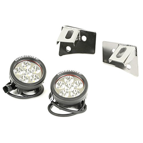 Rugged Ridge (11028.11) Round Stainless Steel Windshield Bracket Led Light Kit
