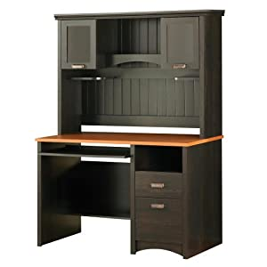 Gascony Desk & Hutch Ebony & Spice Wood