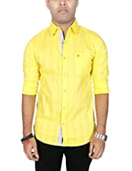 AA' Southbay Men's Yellow Cotton Long Sleeve Self Party Casual Shirt