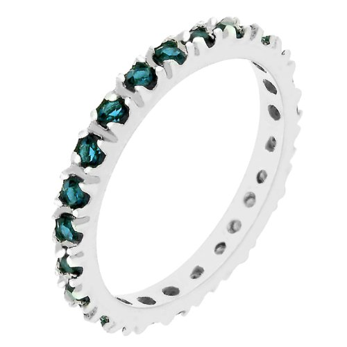 Channel Set Montana Blue Cubic Zirconia CZ Silver Tone Eternity Anniversary Ring (Size 5,6,7,8,9,10)