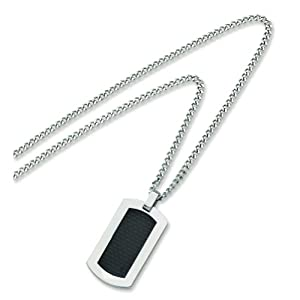 Titanium Carbon Fiber Dog Tag Mens Necklace 24