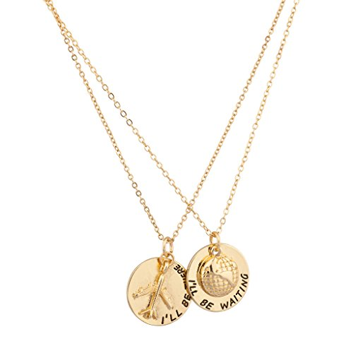 Lux Accessories I'll Be Waiting I'll Be There World Traveler Plane Airplace Pendant Necklace