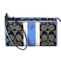 COACH SIS PVC Stripe Zippy Wallet / Wristlet in Black / White / Sky Blue 49078