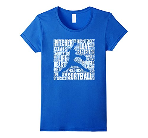 Women's Softball Pitcher Word Cloud T Shirt Awesome Fastpitch Medium Royal Blue (Pitcher Tshirt compare prices)