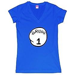 Drunk 1 2 3 4 Funny T-Shirt Juniors V-Neck T-Shirt
