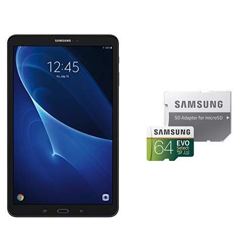 Samsung Galaxy Tab A SM-T580NZKAXAR 10.1-Inch 16 GB, Tablet (Black) and Samsung 64GB 100MB/s (U3) MicroSDXC EVO Select Memory Card with Adapter (MB-ME64GA/AM) (Color: Black, Tamaño: 10.1-Inch)