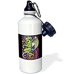 3dRose wb_156833_1 Dread Cthulhu Lovecraft Mythos Elder God Horror Art Sports Water Bottle, 21 oz, White