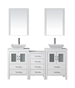 Virtu USA KD 70066 S WH Modern 66 Inch Double Sink Bathroom Vanity Set With P