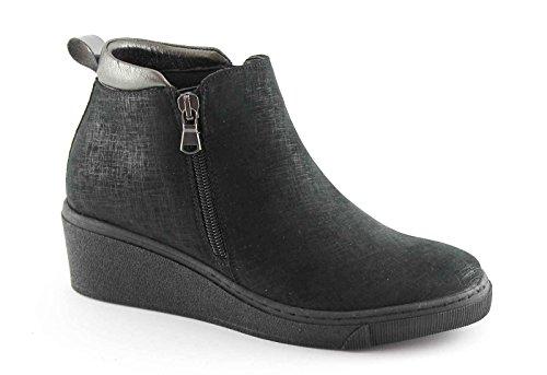 GRUNLAND CURI PO0937 nero scarpe donna mid zeppetta cerniera 39