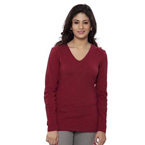 Clifton Women's Basic T Shirt Full Sleeve V-Neck - Maroon - Medium