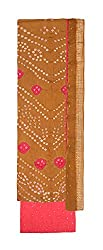 Bandhej Mart Women's Cotton Salwar Suit Material (Brown and Pink)