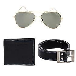 Random 19C Mens Belt, Wallet and Golden Aviator Sunglass Combo (BlackBlue)(9C9AVWLBTBKBL)