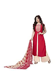 Siya Fashion women's Georgette Party Wear Unstitched Dress Material(si1566_ Red color)