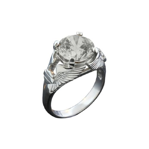 Harley-Davidson® Stamper® Women's Sterling Silver and Platinum Eagle Wing Clear White Color Stone Ring. PR7493CZ
