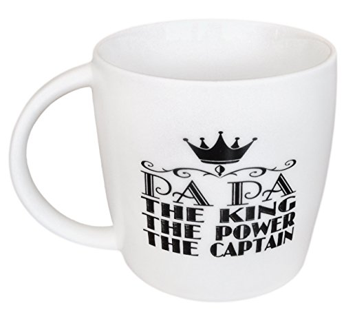 LaTazas® Extra Large PAPA Coffee Mug, The King - The Power - The Captain Ceramic Cup White, 16 Oz