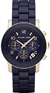 Michael Kors Women's MK5316 Navy Silicone Wrapped Runway Watch