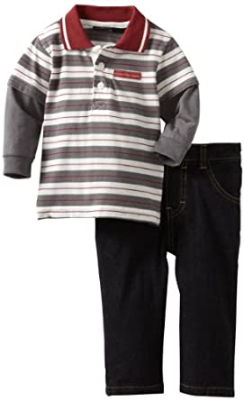 Calvin Klein Baby-boys Infant Stripes Polo Top With Jean, Red/Gray, 24 Months