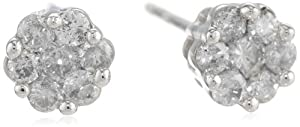 10k White Gold Diamond Stud Cluster Earrings from Amazon Curated Collection