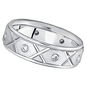 Men's Burnished Diamond Wedding Band in Platinum (0.40ct)
