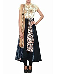 Black And Navy Blue Anarkali Suit Enhanced In Thread And Sequin Embroidery