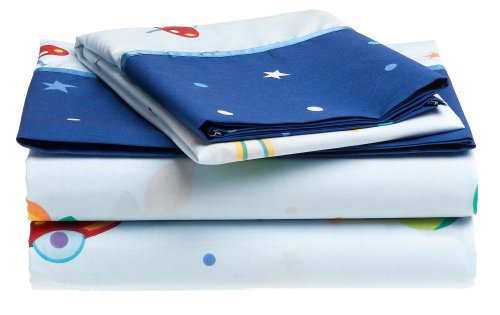 Olive Kids Out of This World Cotton Printed Sheet Set, Twin