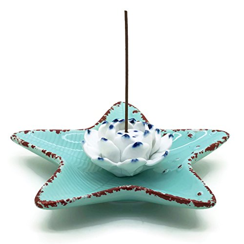 Incense Stick Holder - Starfish Shape Flower Porcelain Incense Burner Bowel - Decorative Ceramic Incense Ash Catcher Plate Tray (Hookah Coal Stove compare prices)