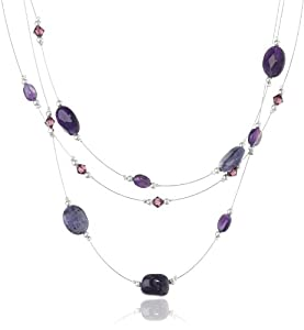 Sterling Silver and Stainless Steel 3-Row Illusion Amethyst and Purple Crazy Lace Agate Necklace, 16+3