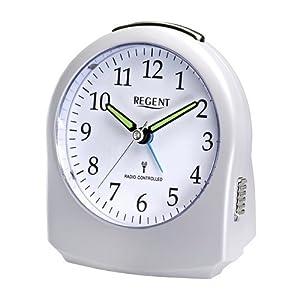 regent 42 703 0 wecker lautlos funkwecker analog licht alarm ger uscharm weiss uhren. Black Bedroom Furniture Sets. Home Design Ideas