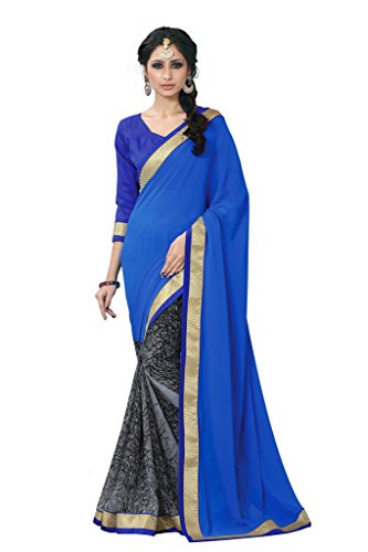 Sourbh Sarees Blue And Grey Printed Faux Georgette Half Half Saree with Unstitched Blouse Piece