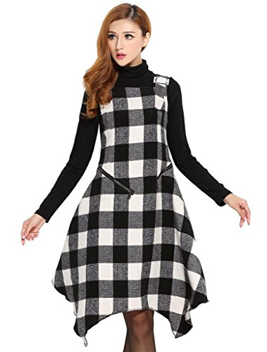 Beautifulmall Women's Winter Sleeveless Wool Plaid Tartan Party Tank Long Dress