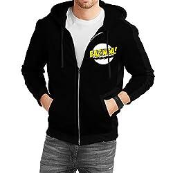 Fanideaz Men's Cotton Bazinga Big Bang Theory Zipper Sweatshirt with Hood_Black_S