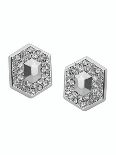 Belle Noel By Kim Kardashian Honey Hexagon Stud Earrings - Silver