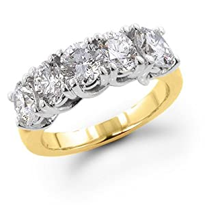 14K Yellow Gold 1.50 ctw. Five - Stone Diamond Wedding / Anniversary Band (G-H;SI1-2) Size 10