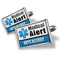 "Neonblond Cufflinks Medical Alert Blue ""Nuts Allergy"" - cuff links for man by NEONBLOND Jewelry & Accessories"