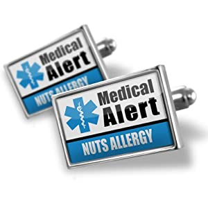 """Neonblond Cufflinks Medical Alert Blue """"Nuts Allergy"""" - cuff links for man by NEONBLOND Jewelry & Accessories"""