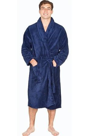 Del Rossa Men's Classic Fleece Shawl Collar Bathrobe Robe, Large XL Navy Blue (A0114NBLXL)