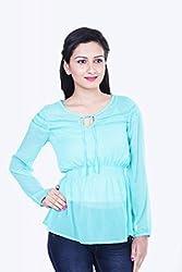 Skatti Womens Chiffon Long Sleeve Top (Sk_138_15Aquagirl_M _Aqua _Medium)