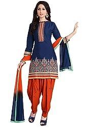 Justkartit Women's Unstitched Dark Blue & Orange Colour Beautiful Salwar Kameez / Unstitched patiala Salwar kameez / Pretty & Sober Cotton Salwar Suit / Punjabi Style Salwar Kameez