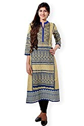 VESH Womens Straight Long Multi Coloured Pakistani Style Kurti. Rounded Neck with Split 'V', Embellished with Floral Embroidery Pattern
