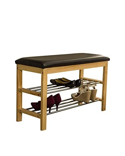 Baxton Studio Langella Bench with 2-Tier Shoe Rack, Dark Brown/Black