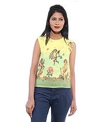 Avakasa Polyester White Printed Partywear Sleeveless Sleeves Top (top-09-yellow)