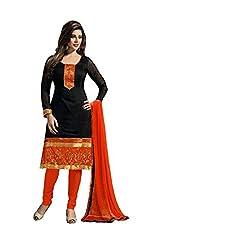 Prachi Silk Mills Women`s Georgette Embroidered Semi-stitched Salwar Suit Dupatta Material (Black Chanderi)