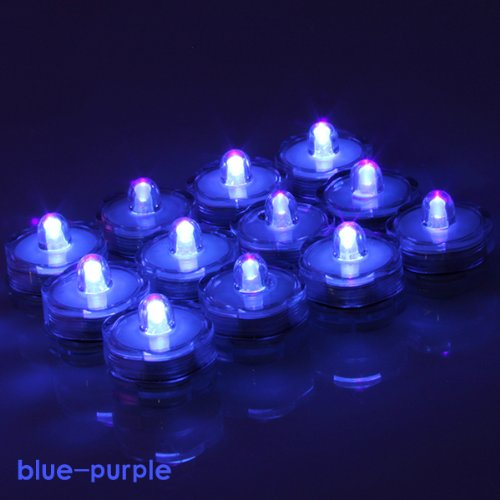 Image 12X Led Submersible Flameless Tealight Battery-Operated Candles Lights For Wedding Christmas Thanksgiving Party Events Home Decor Floral Blue-Purple