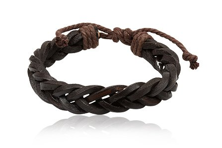 Fashion Dark Brown Leather Wrap Cuff Rasta Plait Bracelet Men's Jewelry