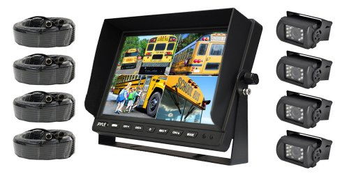 Pyle Plcmtr104 Weatherproof Rearview Backup Camera System With 10.1'' Lcd Color Monitor, Built-In Quad Control Box Screen, (4) Ir Night Vision Cameras, Dual Dc 12/24V For Bus, Truck, Trailer, Van front-786714