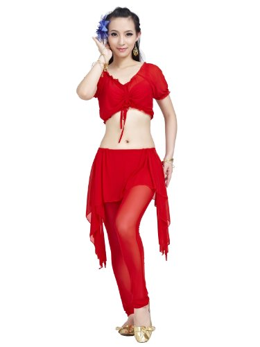 Dance Fairy 2014 sexy Red Transparent indian belly dance costume set