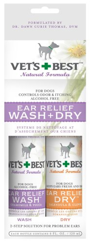 Vet's Best Ear Relief Wash & Dry, Two 4oz Bottles