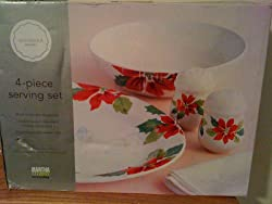 MARTHA STEWART EVERYDAY 4 PIECE SERVING SET WOODLAND HOLIDAY
