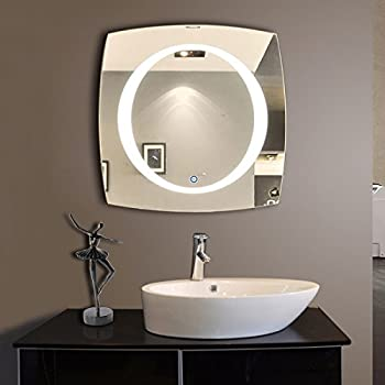 DECORAPORT 40 Inch 40 Inch Horizontal and Vertical LED Wall Mounted Lighted Vanity Bathroom Silvered Mirror with Touch Button (A-N006)