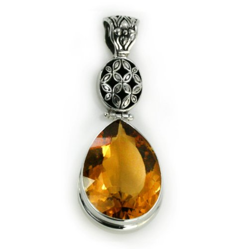 Silver and Citrine Necklace Pendant - Teardrop/Pear Cut, 2.7 cm & 17.1 ct Stone. CLOSE-OUT!!! UNDER COST!!! *** Only 2 left ! ***